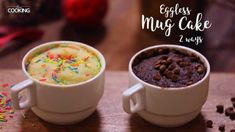 Eggless Mug Cake 2 Ways Ingredients For Chocolate Mug Cake Maida - 3 Tbsp Baking Powder - Tsp Granulated Sugar - 3 Tbsp Cocoa Powder - 2 Tbsp Melted Butt. Eggless Cake Recipe Video, Eggless Recipes, Mug Recipes, Easy Cake Recipes, Cookie Recipes, Recipies, Lemon Mug Cake, Vanilla Mug Cakes, Mug Cake Microwave