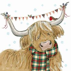 27 Highland Cow with Scarf Highland Cow Painting, Highland Cow Art, Scottish Highland Cow, Highland Cattle, Christmas Drawing, Watercolor Christmas, Cow Drawing, Cute Animals Images, Christmas Topper