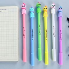 (6 pieces/lot) Lovely Student Stationery Sunny Doll Black Ink Pen Cartoon Gel Pen Kawaii