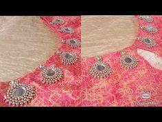 Mirror Work Blouse Design, Mirror Work Saree Blouse, Traditional Blouse Designs, Maggam Work Designs, Blouse Neck Designs, Kurta Designs, Flower Embroidery Designs, Designs For Dresses, Hand Designs