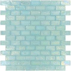 Aqua Illusion Bricks x Glass Tile Oasis Outlet Center Apartment Therapy, Aqua Bathroom, Master Bathroom, Bathroom Colors, Small Bathroom, Iridescent Tile, Glass Tile Backsplash, Glass Tiles, Backsplash Ideas