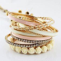 11 Pcs Jewelry Flowers Rhinestone Charm Multilayer Bracelet Golden