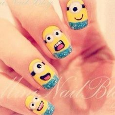 Minion nails - love minions