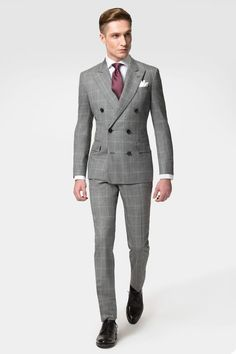 Hackett Grey Windowpane Suit Perfect for the man on the go, this stylish grey windowpane check double breasted suit is the perfect occasion suit. Woven in Italy from the finest wool, expect a truly luxurious feel and suit that is sure to become a firm fav Mode Masculine, Mens Fashion Suits, Mens Suits, Men's Fashion, Grey Suit Men, Fashion Clothes, Double Breasted Suit Men, Windowpane Suit, Plaid Suit