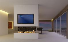 modern architecture - fireplace - decoflame - denver e-ribbon fire - bio-ethanol fireplace