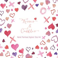 Watercolour Hearts  Kisses and Cuddles Digital by CreateTheCut