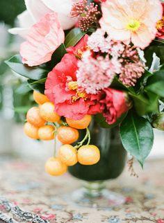 Poppy and Citrus Centerpiece | Jodi McDonald Photography | Jewel Toned Autumn Wedding Inspiration