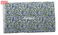 Cotton Fabric 5 Yards Hand Block Printed Running Sanganeri Fabric TAPESTRY EDH