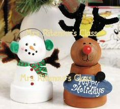 Reindeer Clay Pot Craft | Clay Pot Characters something to do with those leftover mini clay pots!