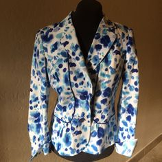 Peck & Peck Blue & White Cotton Jacket Peck & Peck Blue& White Gorgeous Cotton Jacket. Lightweight for Summer!  Excellent condition! Beautiful fabric with shades of Blue and Turquoise!  Peck & Peck Jackets & Coats