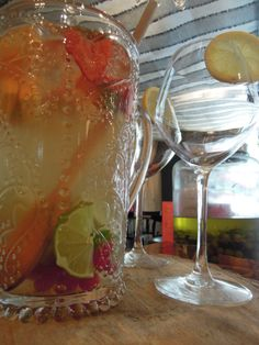 White sangria Alcoholic Drinks, Wine, Glass, Food, Drinkware, Corning Glass, Alcoholic Beverages, Meals, Liquor