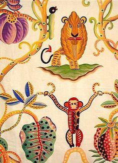 Textile Patterns, Print Patterns, Textiles, Home Textile, Textile Art, Clarence House, Fabric Print Design, Art Nouveau Flowers, Monkey Art