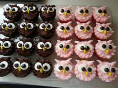 muffins leckerer nachtisch essen The Effective Pictures We Offer You About kids halloween snacks A q Owl Cupcakes, Animal Cupcakes, Cute Cupcakes, Cupcake Cookies, Owl Cupcake Cake, Owl Party Favors, Dessert Halloween, Owl Birthday Parties, Owl Birthday Cakes