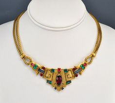 Art Deco Necklace Rhinestone Gold Glass Snake Chain Egyptian Vintage 1930s Jewelry