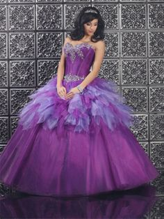 Beading Long Organza Affordable Quinceanera Purple Dress Quinceanera Dresses 2014