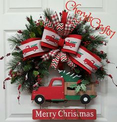 Reserved for Gail, Red Truck Christmas Wreath, Christmas Wreath, Red Truck Décor Measures 26 in diameter. Thanks Gail