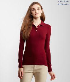 b55d9ed90 aeropostale womens long sleeve solid uniform piqu polo shirt