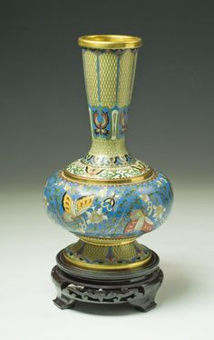 A Chinese Antique Cloisonne Bronze Vase With Stand.