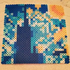 Starry Night perler beads by mortensorchid