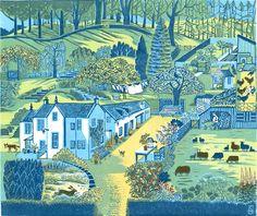 Clare Melinsky, heritage handprinted linocut illustration of farm