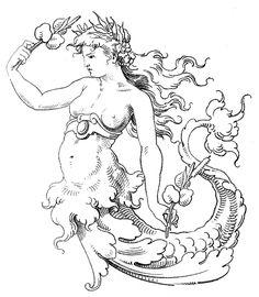 Old World Clip Art - Wonderful Mermaid - The Graphics Fairy