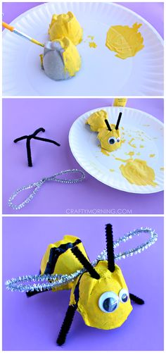 Egg Carton Bee Craft for Kids to Make! Fun art project for spring or summer time. | CraftyMorning.com