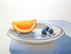 "Daily Paintworks - ""Orange Wedge with Blueberries"" - Original Fine Art for Sale - © Kara K. Bigda"