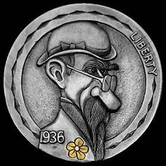 Hobo Nickel carved by Steve Cox - photo from Original Hobo Nickel Society Italy Pictures, Hobo Nickel, Coin Art, Metal Clay Jewelry, Art Forms, Sculpture Art, Dog Tags, Coins, Carving