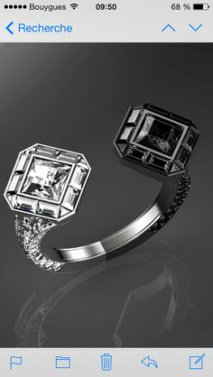 FOR SALE: ring rochaydesign creation. white and black diamonds set in white gold. 21,000 euros. French manufacturing