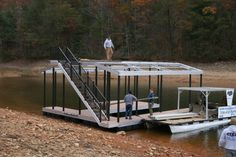 North Georgia Boat Lift & Marine Construction Company completed work on this beautiful CAT 3 dock earlier this week. This dock features a multi-slip for housing multiple boats, and comes complete with a wide side. The main deck, along with the gangway,  features TimberTech Reliaboard decking, whereas the upper deck is equipped with Aluminum Sandstone decking. Custom Wahoo Bumpers line the inside of each slip to protect the owner's vehicle. What a great dock! Boat Lift, Outdoor Furniture Sets, Outdoor Decor, Upper Deck, Decking, Blue Ridge, Boats, Georgia, Vehicle