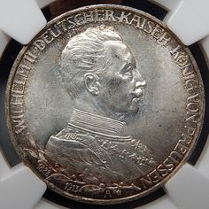 1913 A GERMANY PRUSSIA SILVER JUBILEE 3 MARK GRADED BY NGC MS 64 #silver-coins