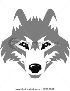 Picture of a wolf's face in a vector clip art illustration