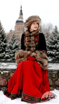 "Coat ""Russian Seasons"" Woolen zupan with hat and muff  Source: https://armstreet.com/store/medieval-clothing/short-coat-jupan-russian-seasons"
