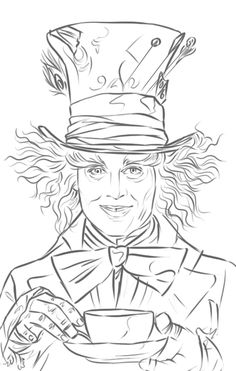"Mad Hatter (Johnny Depp) aus ""Alice im Wunderland"" – WetCanvas – I Wish I Could Draw Like That - Malvorlagen Mandala Art Drawings Sketches, Disney Drawings, Cartoon Drawings, Cool Drawings, Disney Coloring Pages, Adult Coloring, Coloring Books, Colouring, Alice In Wonderland Drawings"