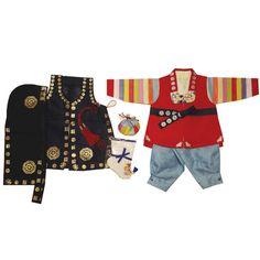 Red Patchwork and Blue - Boy Dol Hanbok Set - 7 Pieces