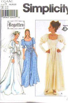 MOMSPatterns Vintage Sewing Patterns - Simplicity 8502 Retro 90s Sewing Pattern DIVINE Steampunk Begotten Goth Corset Basque Bodice Royal Wedding Gown, Goth Gunne Sax Style Dress Size 6-10