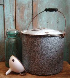 Antique Graniteware Canner Mottled Gray.................prairieantiques
