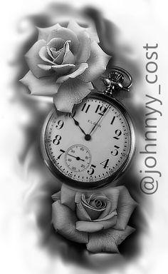 Clock And Rose Tattoo, Rose Clock, Clock Tattoo Design, Tattoo Designs, Tattoo Studio, Ny Ink, Rosa Tattoo, Lowrider Art, Cool Arm Tattoos