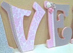 Custom  Nursery Letters for Girl- Pink and Grey Nursery Decor- Wooden Letters, Personalized Name- Baby Girl Room Decor - The Rugged Pearl. $16.50, via Etsy.