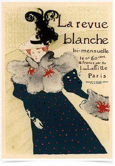 Poster The Belle Epoque La Revue Blanche impresso com tecnologia HighHD de alta definição em papel semi-glossy especial com gramatura 250g no tamanho A3 (42x29cm) com cores vibrantes.