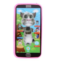 Baby Toy Phone With Lanyard Simulator Music Phone Touch Screen Kids Educational Learning Toy Blue Pink White Randomly Sent
