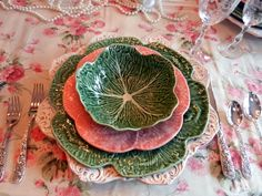 Spring is here; portuguese green and pink Bordallo Pinheiro cabbage plates.