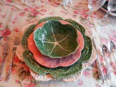 Portuguese green and pink Bordallo Pinheiro cabbage plates.