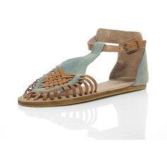 BRONX Hurrache Jean Sandals (51 CAD) ❤ liked on Polyvore featuring shoes, sandals, denim shoes, woven leather sandals, bronx® shoes, bronx sandals and slim shoes