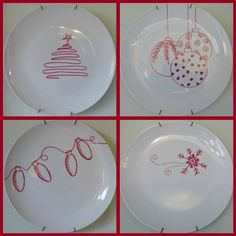 Homemade Christmas dishes with dollar store white plates and a red Sharpie! Doing this....I need Christmas dishes! Painting Pottery Plates, Pottery Painting Ideas Easy, Pottery Painting Designs, Painted Pottery, Paint Your Own Pottery, Painted Plates, Ceramic Painting, Pottery Ideas, Diy Christmas
