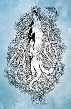 """ARCHITEUTHIS"" Commissioned work for a UK client based on the ""Journey"" doodle featuring a giant squid. :) - 11 x 16 inches - Uni Pin Fine Liners on drawing sketchpad - Approx. 5 hours of..."
