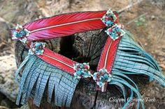 Stunning Custom Feather Bronco Halter with Turquoise Gator Fringe and Candy Rock conchos