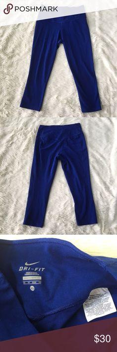 "Nike Dri Fit Blue Cobalt Active Workout Crop Xs Nike dri fit crop pant.   Waist across approx-11.5"" Rise approx-9"" Inseam approx- 19.5"" 33% poly 6% spandex  61% cotton Nike Pants Leggings"