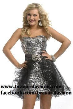 DRESS OF THE DAY!!!  Sparkle all night in this amazing cocktail, by Partytime! You can wear the attachment for extra flirty fun, or remove it for a more elegant look! Available at Bravura!!