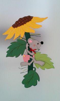 Fensterbild Maus klettert auf Sonnenblume -Herbst- Dekoration - Tonkarton! 4 • EUR 11,00